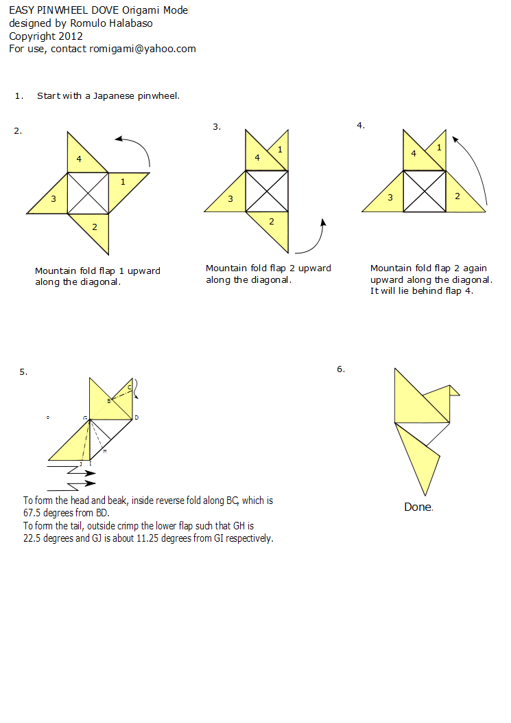 Origami Dove Easy Choice Image Instructions For Kids