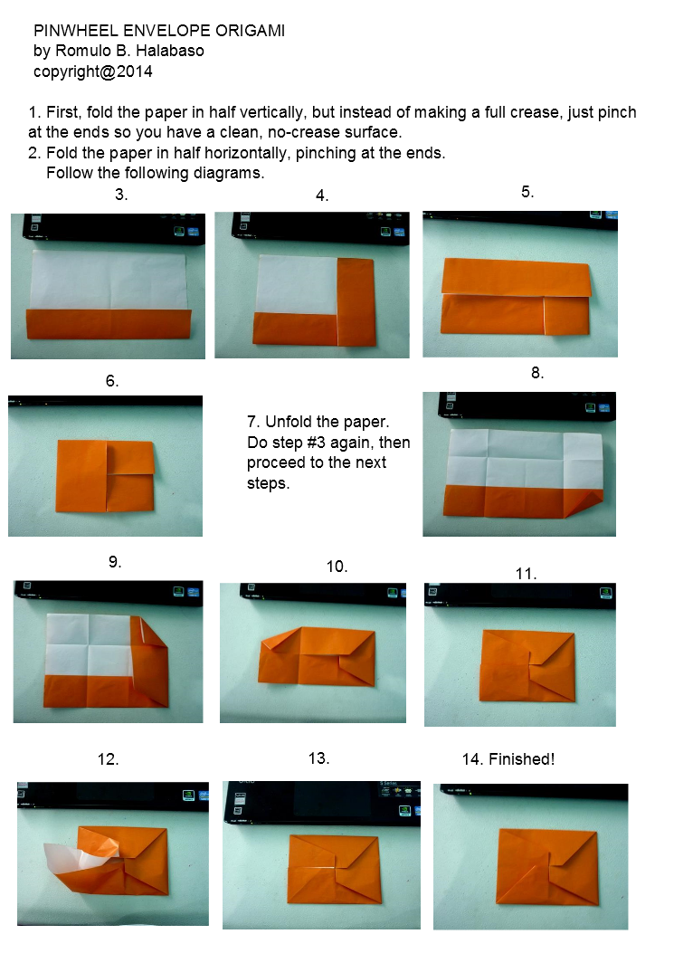 Pinwheel Envelope Model Diagram Instructions